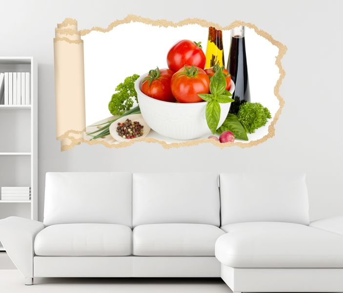 3d wandtattoo tapete k che tomaten salat essig essen wand. Black Bedroom Furniture Sets. Home Design Ideas