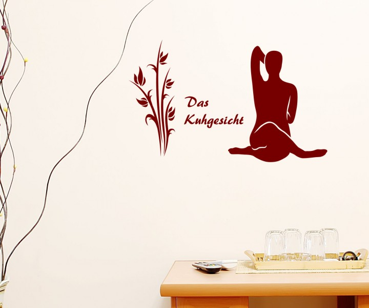 wandtattoo kuhgesicht yoga bung deko sport sticker tattoo. Black Bedroom Furniture Sets. Home Design Ideas