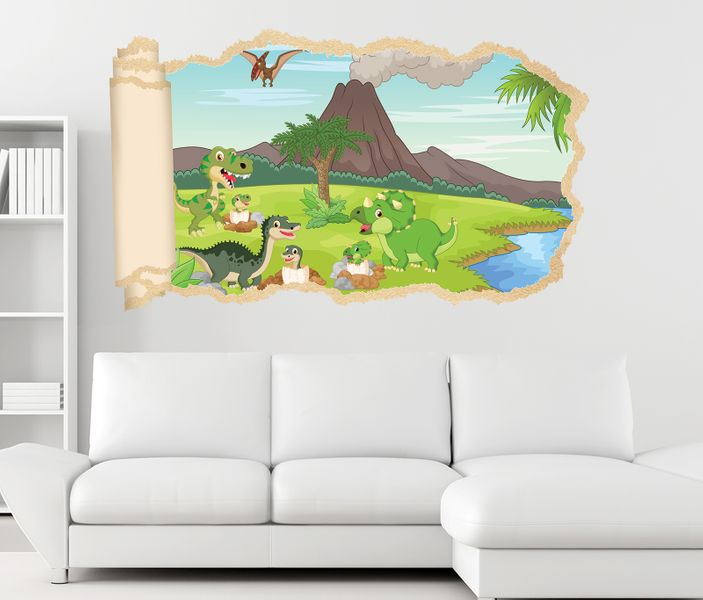 3d wandtattoo kinderzimmer dino vulkan cartoon tapete wand for Kinderzimmer deko wand