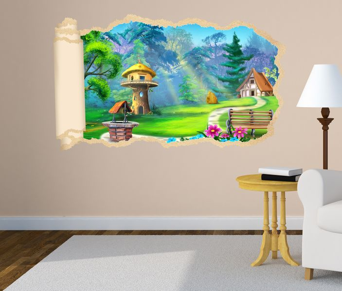 3d wandtattoo m rchen haus wald kinderzimmer tapete wand. Black Bedroom Furniture Sets. Home Design Ideas
