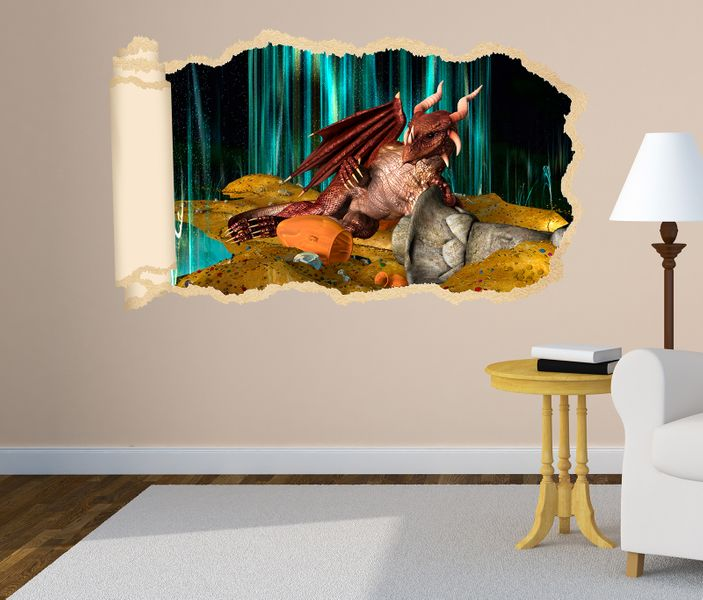 3d wandtattoo drache dragon schatz kinderzimmer tapete. Black Bedroom Furniture Sets. Home Design Ideas