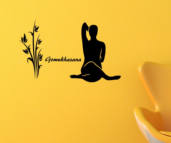 wandtattoo gomukhasana yoga bung sport wand deko sticker. Black Bedroom Furniture Sets. Home Design Ideas