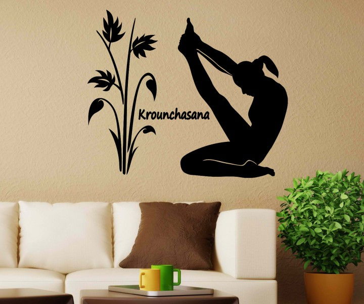 wandtattoo krounchasana yoga bung sport deko sticker. Black Bedroom Furniture Sets. Home Design Ideas