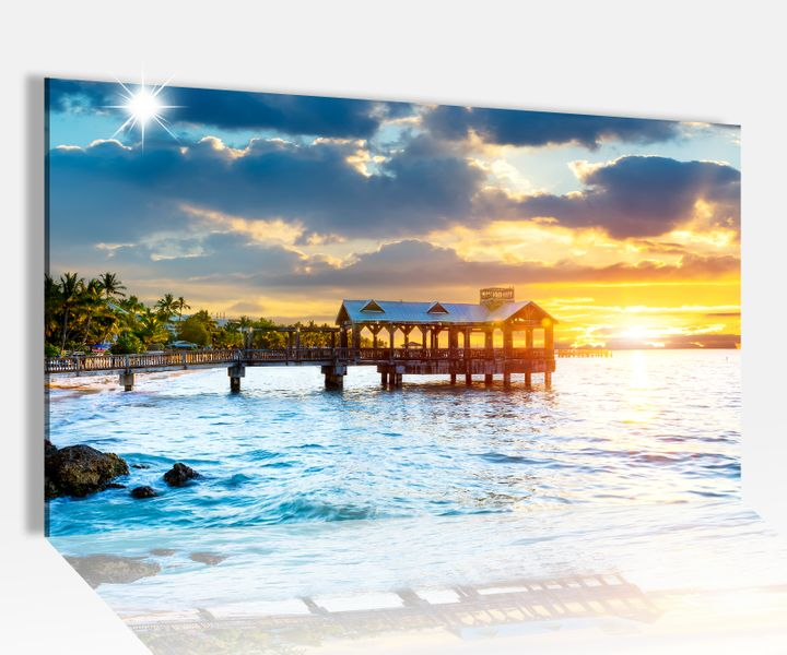 acrylglasbild 80x50cm sonnenuntergang am meer paradies glasbild bilder acrylglas acrylglasbilder. Black Bedroom Furniture Sets. Home Design Ideas