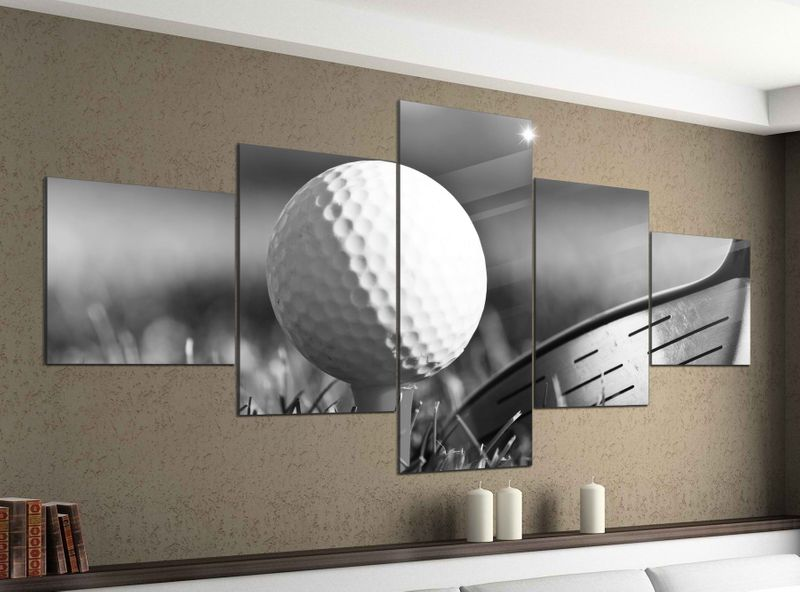 leinwandbild 5 tlg 200cmx100cm ball golf sport golfball abschlag schwarz wei bilder druck auf. Black Bedroom Furniture Sets. Home Design Ideas
