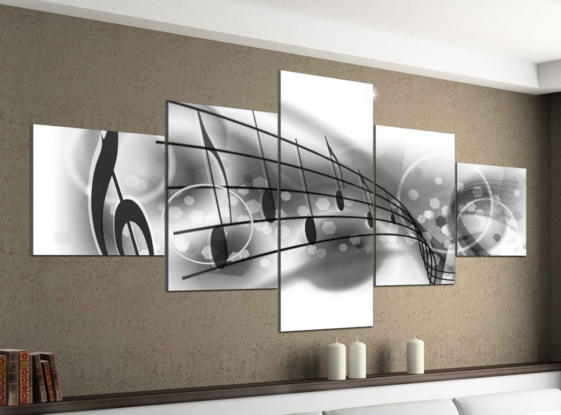 leinwandbild 5 tlg 200cmx100cm musiknoten noten musik schl ssel schwarz wei bilder druck auf. Black Bedroom Furniture Sets. Home Design Ideas