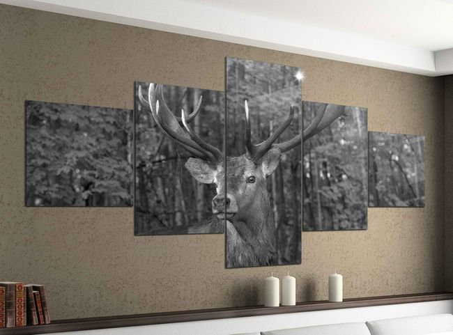 leinwandbild 5 tlg 200cmx100cm hirsch geweih wild wald tier schwarz wei bilder druck auf. Black Bedroom Furniture Sets. Home Design Ideas