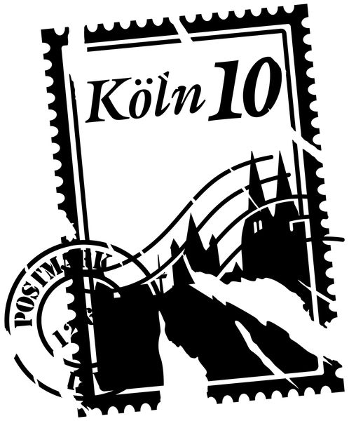 Autoaufkleber Skyline Köln Stamps Briefmarke Auto Sticker