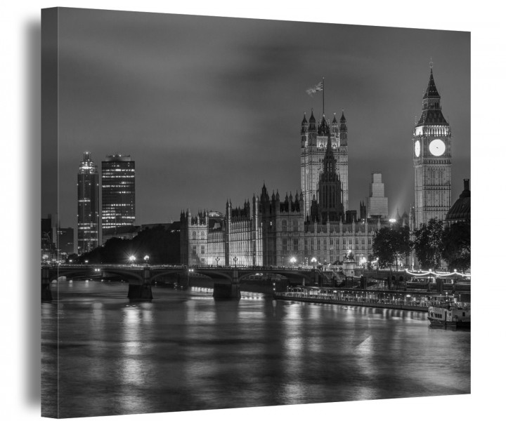 london schwarz wei skyline leinwand stadt wandbild. Black Bedroom Furniture Sets. Home Design Ideas