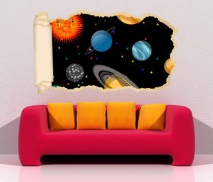3D Wandtattoo Tapete Weltall Erde Saturn Sonne Cartoon Planet Planeten Kinderzimmer Durchbruch selbstklebend Wandbild Wandsticker Wohnzimmer Wand Aufkleber 11O1973