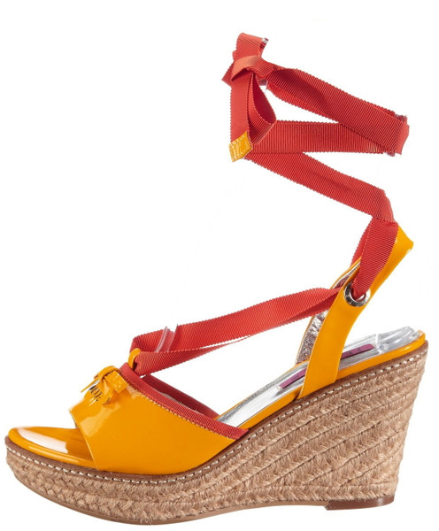 JETTE 63 21 14475 Keil Plateausandaletten Lackleder yellow orange