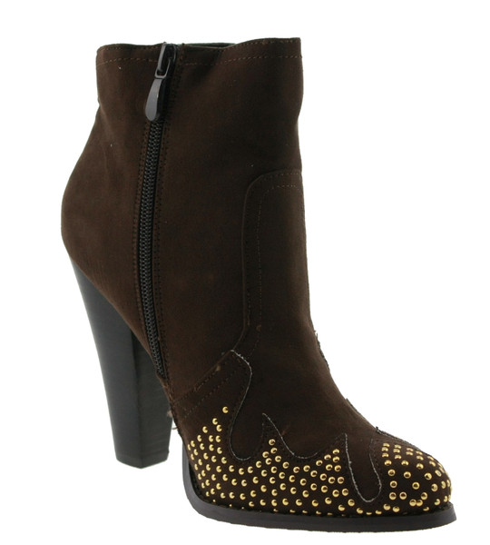 Blink 300991-C Stiefeletten mit Ziernieten high heel dark brown – Bild 2