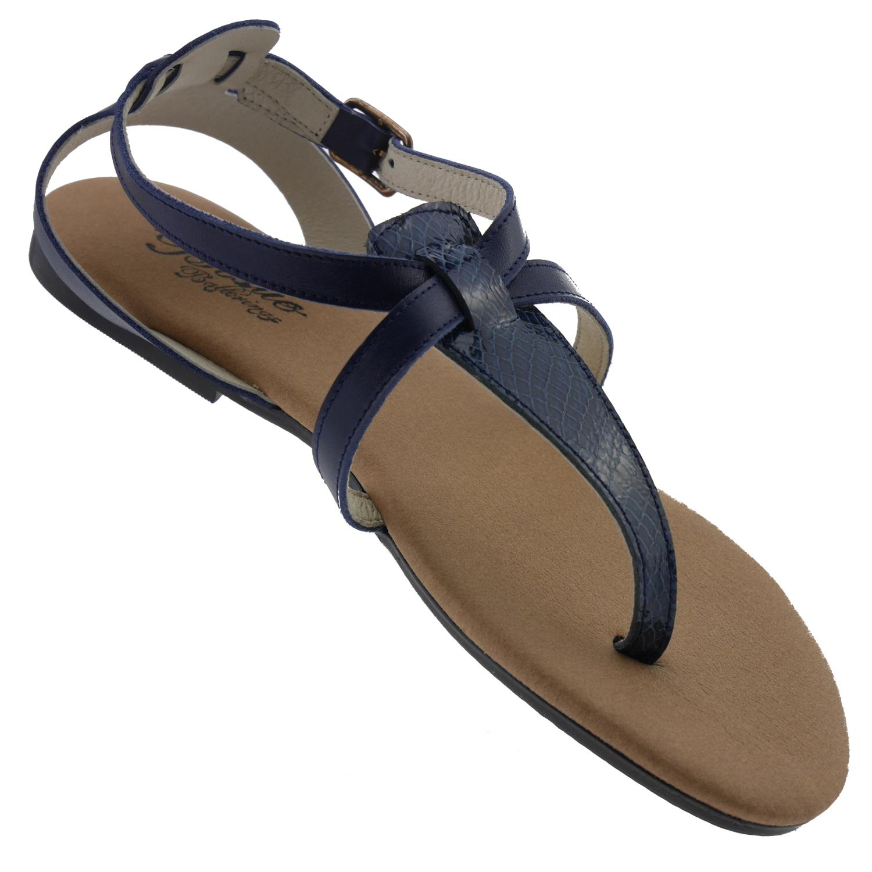 Leder Bisue Blau Bis5505 Sandalen 5RAj4L