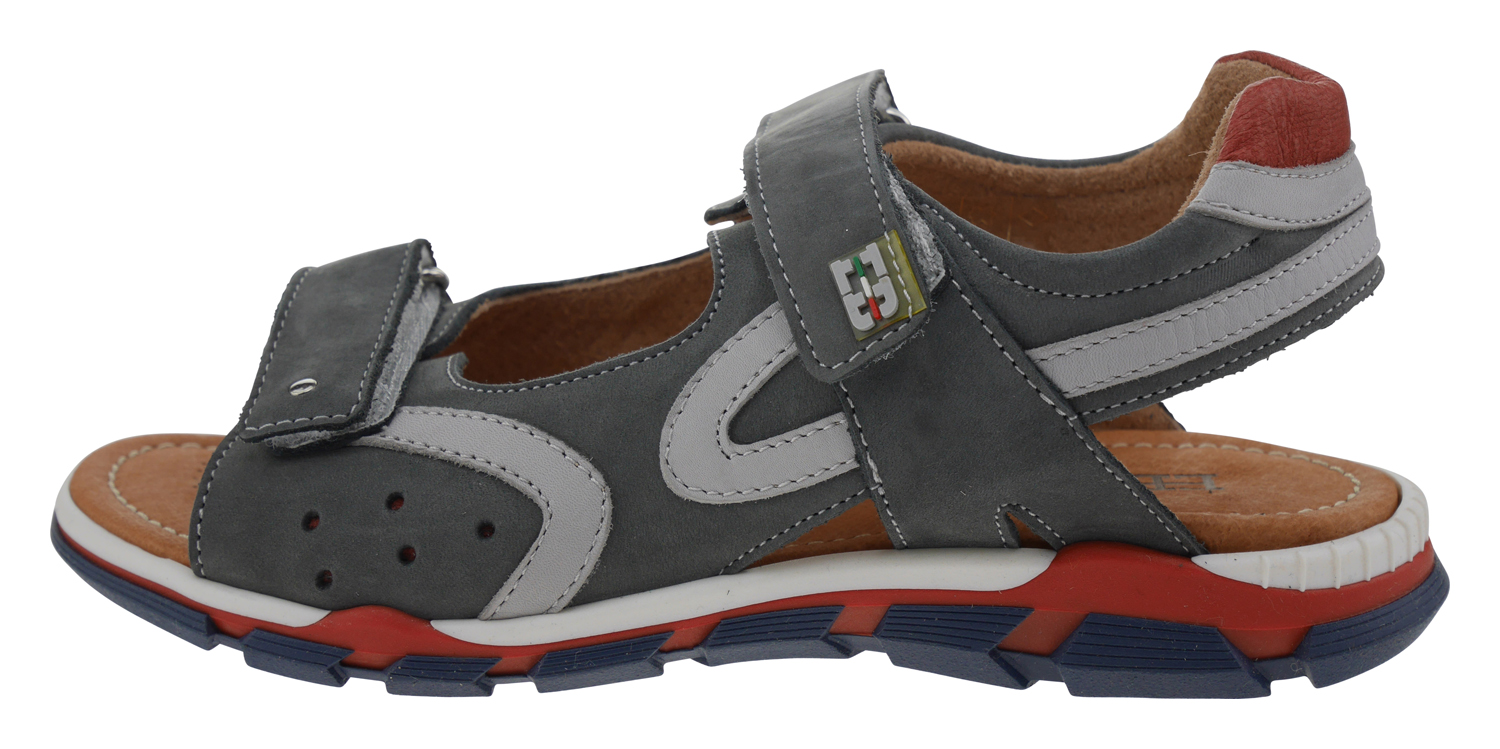 EB Shoes b1273 Leder Outdoor Sandale grau rot Kinderschuhe