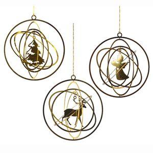 Messing-Ornamente, 3er Set - Christbaumschmuck