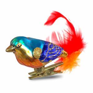 Clip-Vogel blau/gold - Christbaumschmuck aus Glas