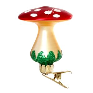 SIKORA Christmas Tree Glass Ornament - Fly Agaric Clip H: 6 cm / 2.4 in