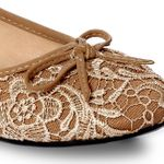 CASPAR Womens Shoes / Ballet Flats / Ballerinas with Crochet Lace Application - many colours - SBA005