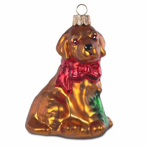 Sikora BS182 Christmas Tree Ornament Glass Decoration - Dog with Bow