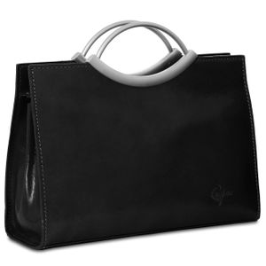 CASPAR TL622 Women Small Leather Handbag / Tote / Business Bag with Metal Handle