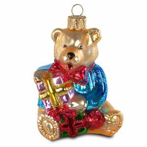 SIKORA BS181 Bear with Presents Christmas Tree Decoration Ornament Glass Figure Pendant