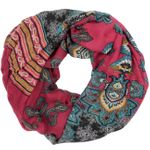 CASPAR Womens Loop Scarf with Paisley Design and Stripe Print - SC340