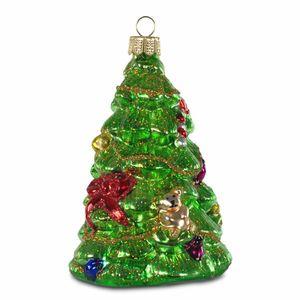 SIKORA BS184 Christbaumschmuck Glas Ornament / WEIHNACHTSBAUM GRÜN - H: 12cm