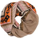 CASPAR Womens Loop Scarf Ethnic Motif Checkered Zig Zag Stripe Print - SC326