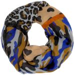 CASPAR Womens Loop Scarf with Leopard Hearts Camouflage Print - SC332