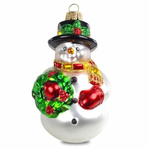 SIKORA BS190 Snowman Christmas Tree Decoration Ornament Glass Figure Pendant