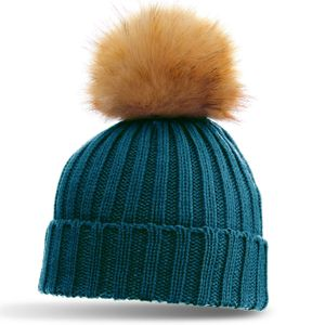 CASPAR Classic Women Winter Knitted Bobble Hat with Large Faux Fur Pom Pom