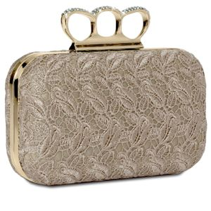 CASPAR Womens Knuckle Duster Box Clutch / Evening Bag with Crochet Lace and Rhinestones - many colours - TA290