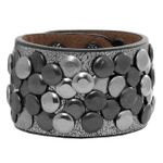 CASPAR Unisex Wide Vintage Studded Bracelet Partially Leather - many colours - AZ300