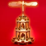 SIKORA P20 Traditional Wooden Christmas Pyramid Three Levels Height 45cm