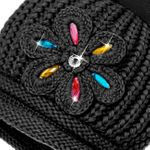 CASPAR Womens Winter Knitted Hat Chunky Bobble Crystal Flower and Long Braids - MU073