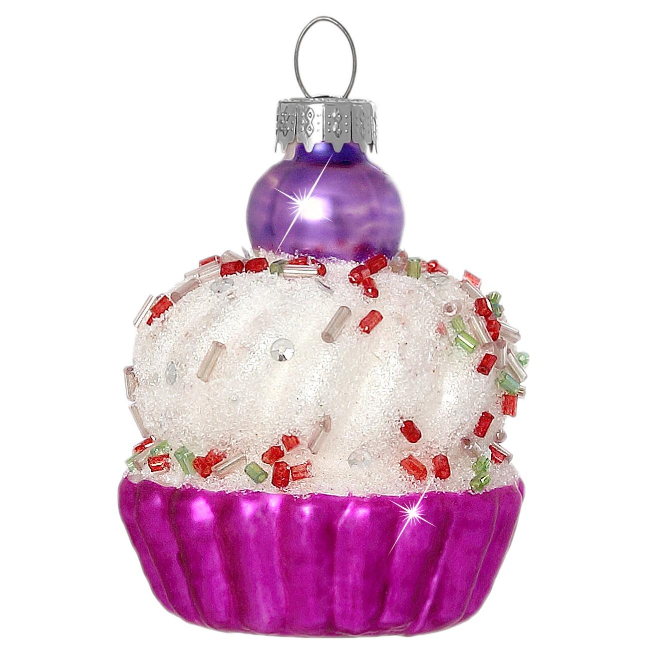 Sikora Christbaumschmuck Glas Ornament Cupcake Kuchen Pink