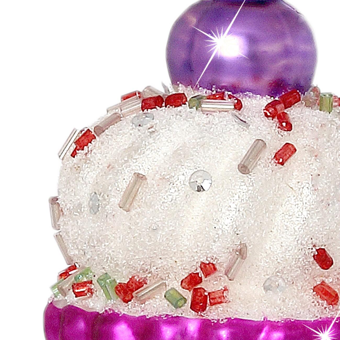 Sikora Christbaumschmuck Glas Ornament Cupcake Kuchen Pink H 7cm