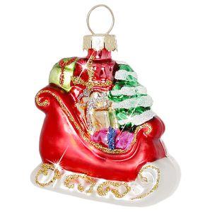 SIKORA Christbaumschmuck Glas Ornament / NIKOLAUS SCHLITTEN - H:6cm