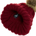 CASPAR Womens Winter Rib Knitted Hat / Beanie with Chunky Faux Fur Bobble Pom Pom - many colours - MU054