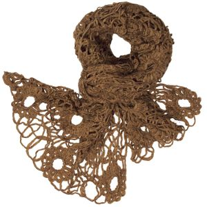CASPAR Womens Crochet Lace Knitted Scarf / Shawl with Flower Motif - SC107
