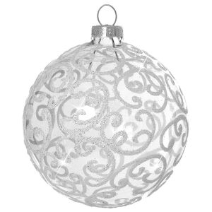 SIKORA Deluxe Christmas Glass Baubles Balls Decorations / FLORENCE / clear - 4pc set - CK-2-CR
