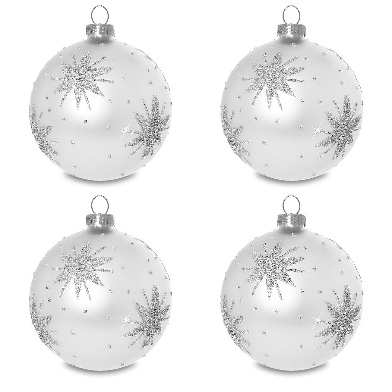 Weihnachtskugeln Weiß Silber.Sikora Christbaumkugeln Aus Glas Mit Klassischer Verzierung Stary