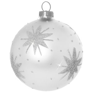 Sikora Glass Christmas Tree Baubles with Classic Embellishment / Starry Night / Silver Set of 4