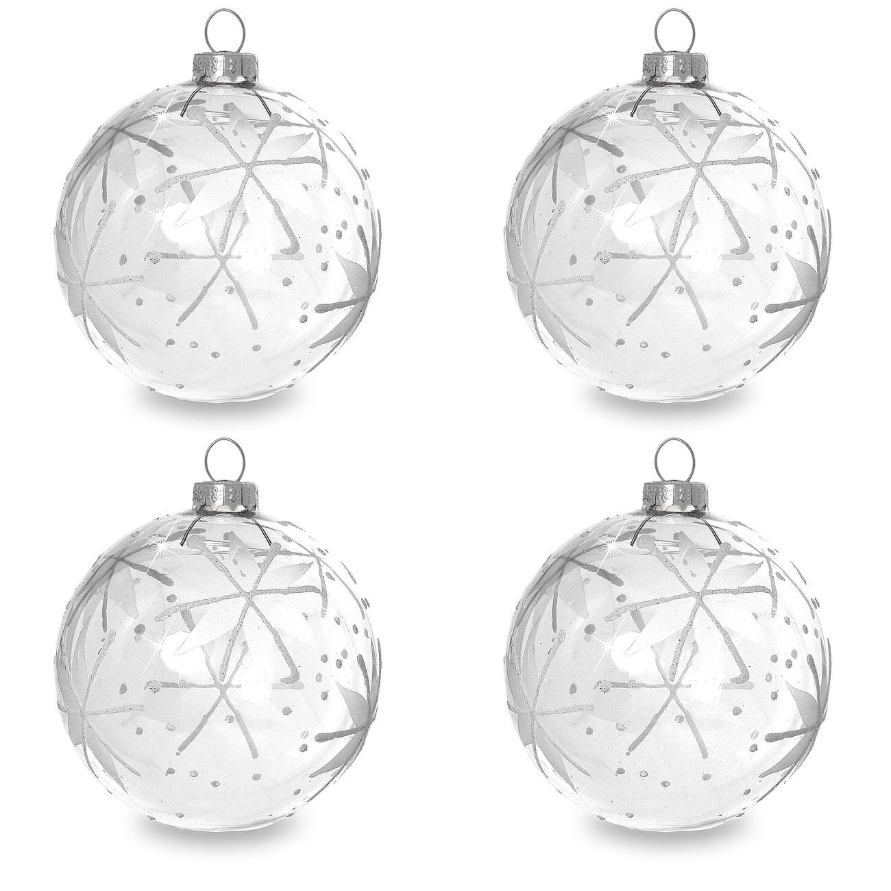 sikora christbaumkugeln aus glas mit klassischer verzierung stary night klar glar 4er set. Black Bedroom Furniture Sets. Home Design Ideas