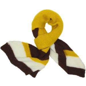 CASPAR Womens Tricolour Knitted Scarf / Shawl with Stripe Design - Khaki / Yellow - SC235