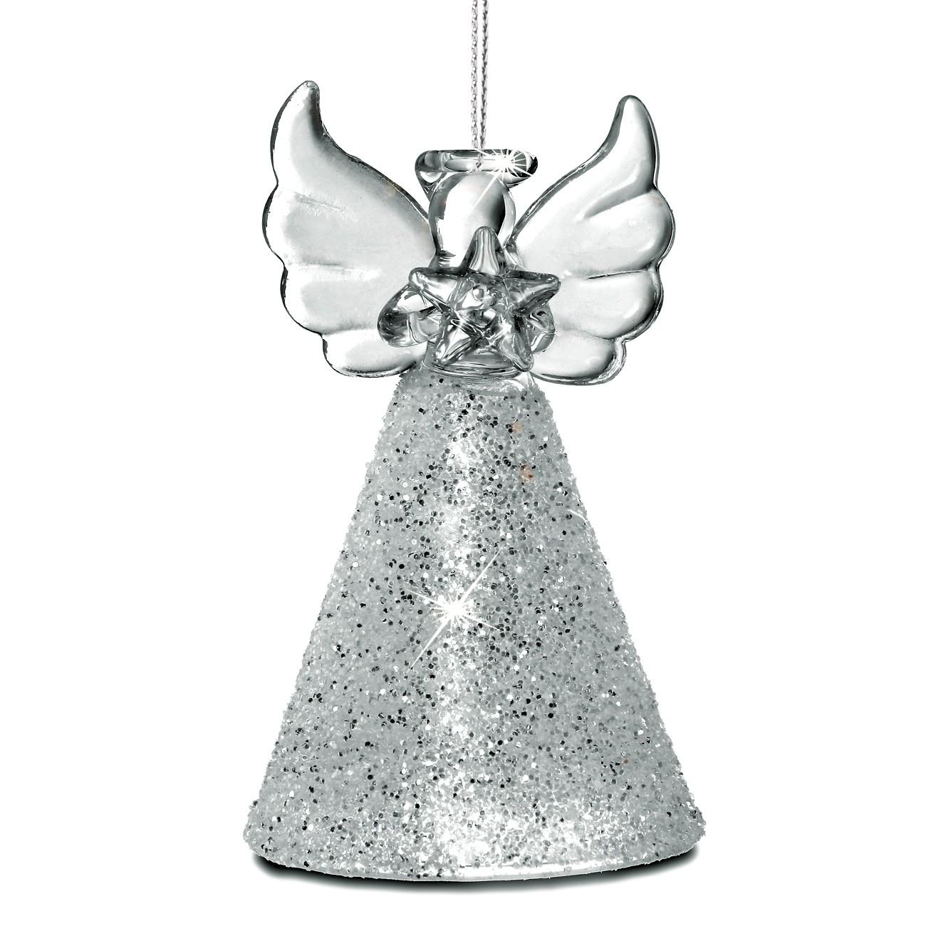 sikora christbaumschmuck aus glas engel mit silberglitter 3er set h 7cm christbaumschmuck. Black Bedroom Furniture Sets. Home Design Ideas