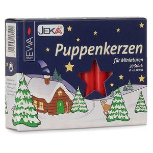 SIKORA Puppenkerzen / Kerzen für Weihnachtspyramiden / ROT - H:7,0cm / D:1,0cm, 18 Stck.