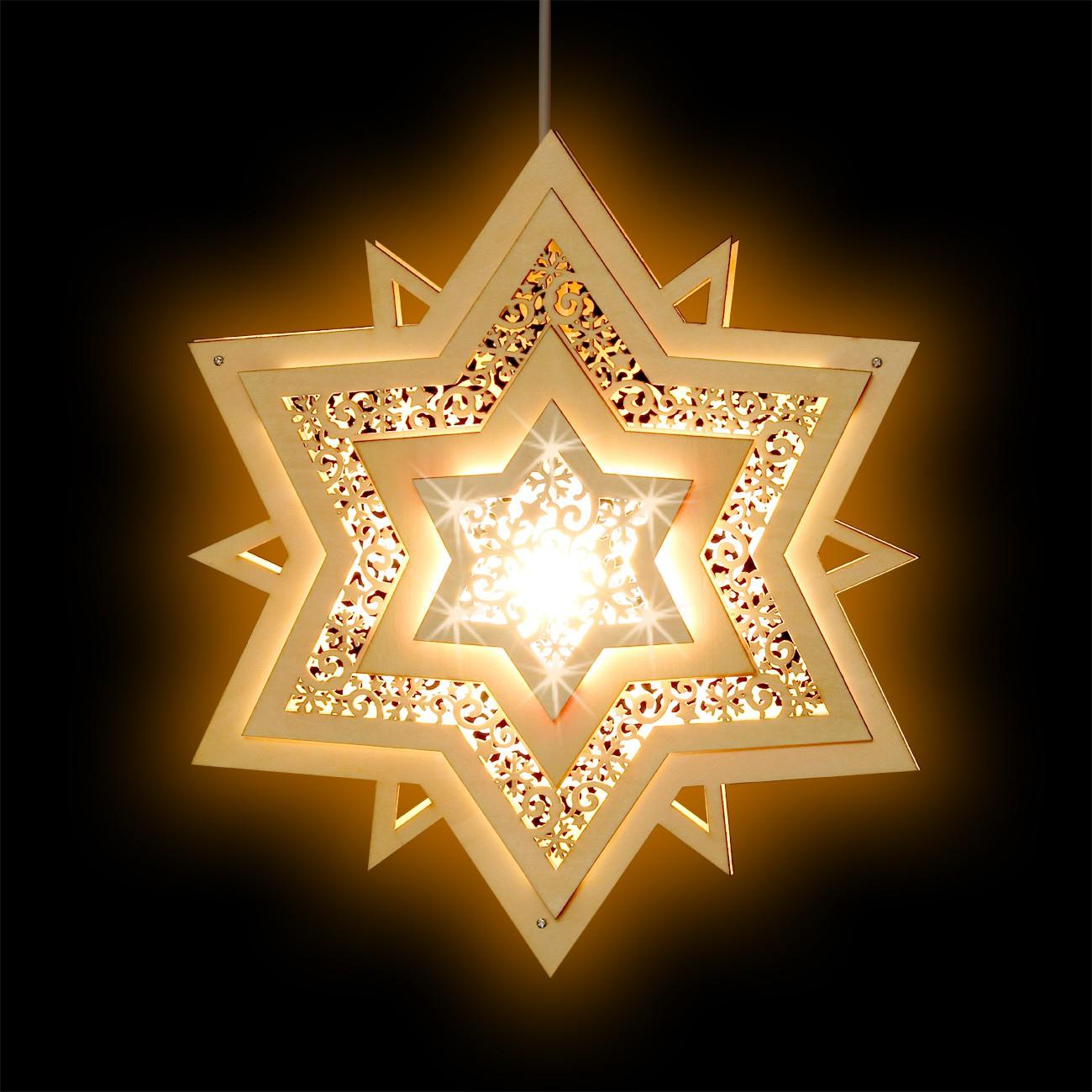 Sikora fb31 beleuchtetes holz fensterbild motiv stern mit for Stern beleuchtet weihnachten