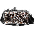 CASPAR Womens Clutch / Evening Bag made from Real Fur with Large Round Clasp Closure - many colours - TA308