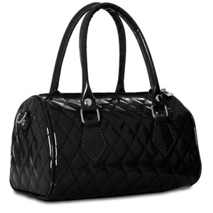 CASPAR Womens Small Patent Faux Leather Handbag / Bowling Bag in Glamour Look - many colours - TS758